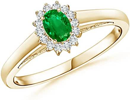 Princess Diana Inspired Emerald Ring with Diamond Halo in 14K Yellow Gold (5x3mm Emerald)