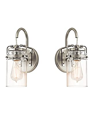 Kichler Brinley 1-Light Wall Sconce and Clear Glass Shade