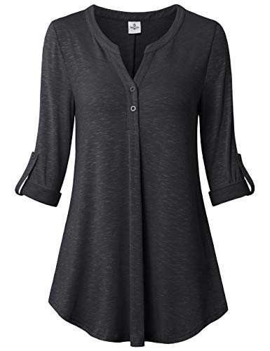 UXELY Women's 3/4 Cuffed Sleeve Shirt Casual V Neck Pleated Flowy Loose Fit Swing Tunic Tops Grey