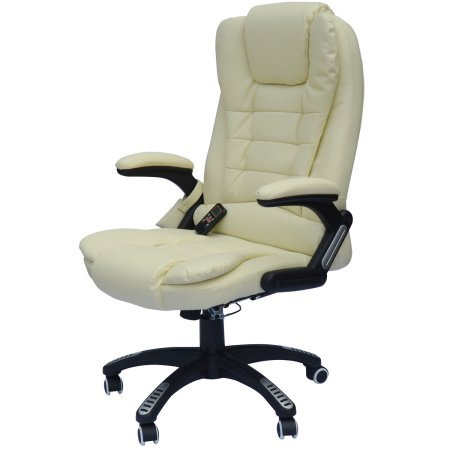 Ergnomic Heated Massage Office Chair with Remote Control, PU Leather Padded, Lumbar Support, Adjustable Height and Position, Home Office Furniture, 6 Different Massaging Settings, Cream Color Leather Home Massage Chairs