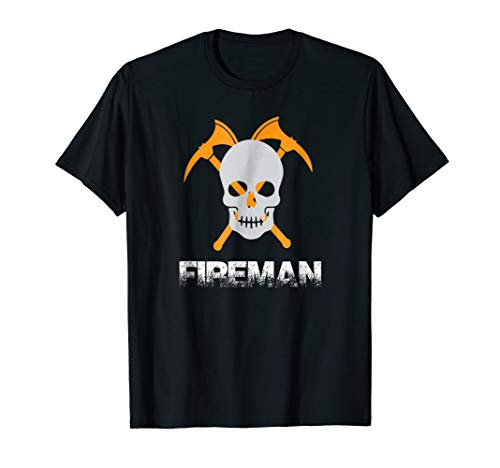 Fireman Firefighter Axe Skull Halloween Costume T -