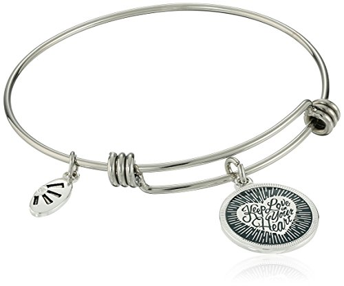 Silver Plated Keep Love in Your Heart Adjustable Bangle Bracelet