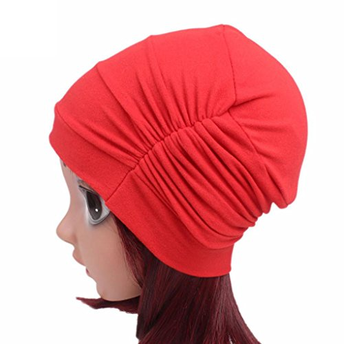 FEITONG Children Baby Girls Cotton Hat Beanie Scarf Turban Head Wrap Cap 3-8 years (Red) by FEITONG (Image #2)