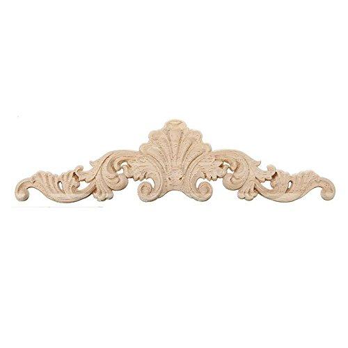(Unpainted Wood Crafts - 30 8 1cm Wood Carved Corner Onlay Applique Frame Decor Furniture Craft Unpainted - Made Wood Furniture Words Unpainted Crafts Figurines Miniatures Carved Wood Onlay)