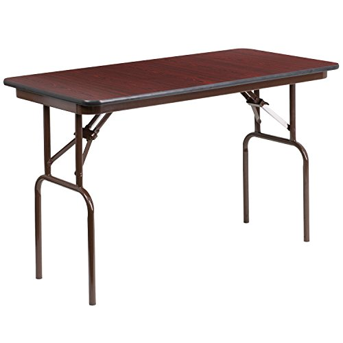 Flash Furniture 24'' x 48'' Rectangular Mahogany Melamine Laminate Folding Banquet Table