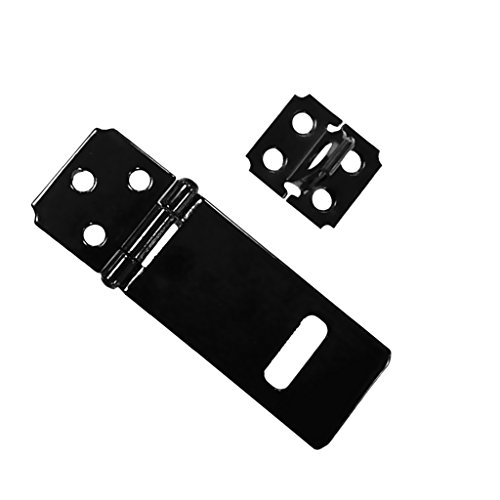 Jili Online Door Safety Lock Black Iron Padlock Hasp Staple Set Gate Shed Latch With Screws (Black Safety Hasp)