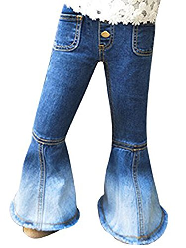 EastLife Toddler Baby Girls Bell Button Jeans Solid Denim Pants With (Pocket Bottoms Jeans)