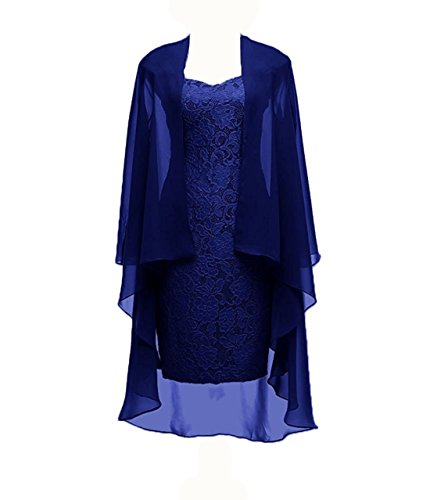 Column 3/4 Sleeves Lace Chiffon Short Wedding Mother Evening Dresses Formal Royal Blue Size (Royal Blue Lining)