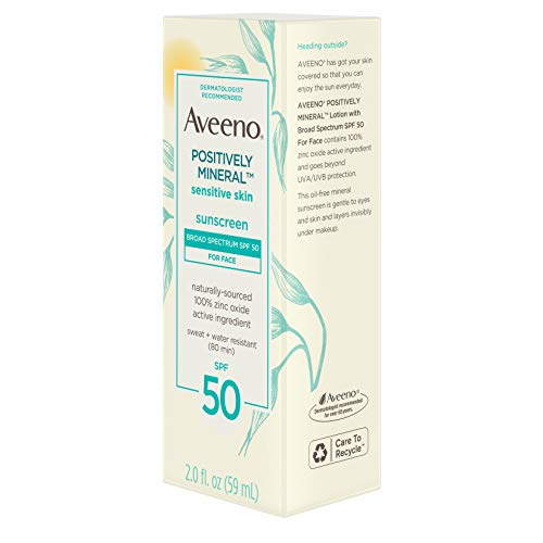 Aveeno Positively Mineral Sensitive Skin Daily Sunscreen Lotion for Face, Broad Spectrum SPF 50 with 100% Zinc Oxide…