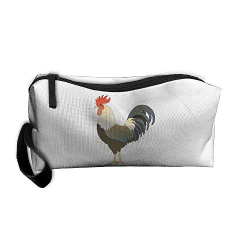Cosmetic Bags With Zipper Makeup Bag The Lifelike Rooster Middle Wallet Hangbag Wristlet Holder ()