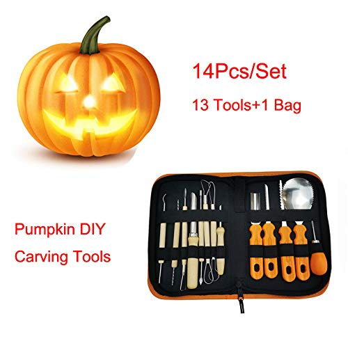 Luonita Halloween Pumpkin Carving Tools Kit, 13 Pcs Heavy Duty Stainless Steel Pumpkin Carving Tools Set Easily Carve Sculpt Kids and Adults Halloween Jack O Lanterns -