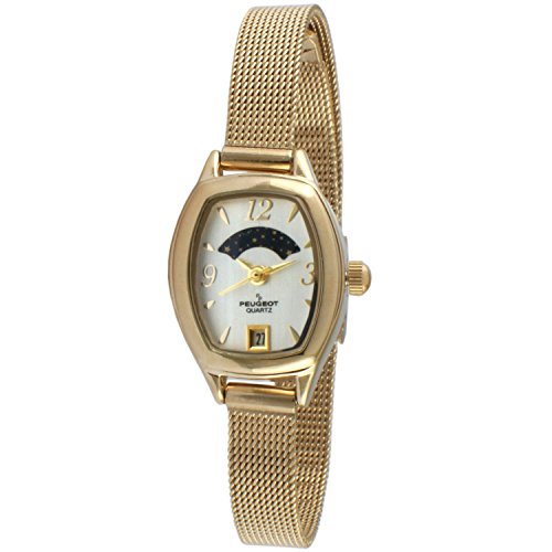 Peugeot Women's 14K Gold Plated Slim Mesh Decorative Sun Moon Phase Face Vintage Dress Watch