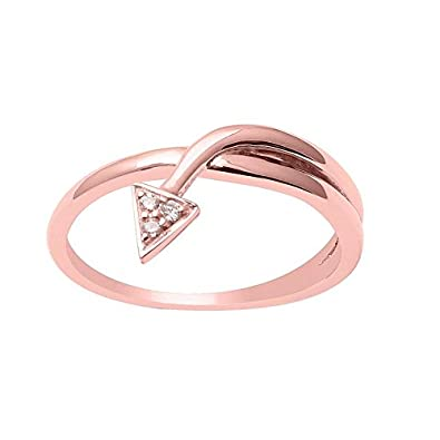 Buy Shine Jewel Round Cut Diamond 14 ct Rose Gold Band Turn Arrow