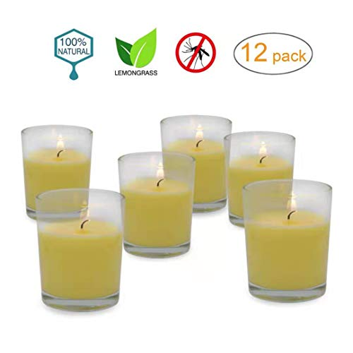 12 Hour Burn Time Citronella Scented Votive Candles with Holders Clear Decorative Glass Home Decor,Outdoor Indoor - 12 Pack