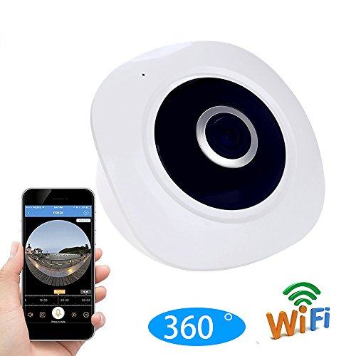 Juhaich 960P HD WiFi IP Security Network Dome Camera For Home Surveillance, Fisheye 360° Indoor Dome With Night Vision Motion Detection 2-Way talking (white)