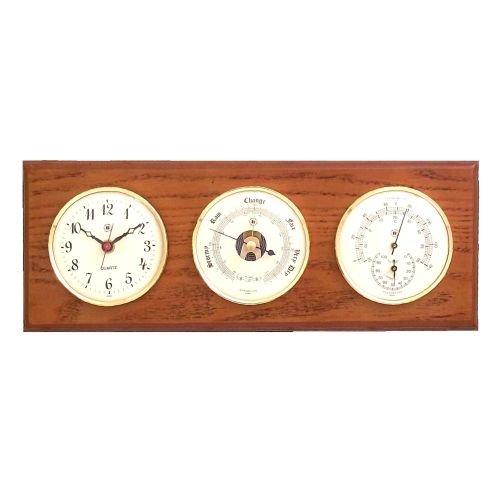 Brass Quartz Clock, Barometer & Thermometer/Hygrometer on Oak Weather Station -