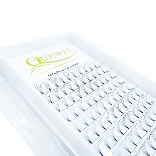 Russian Volume Premade Fans Eyelashes Extension 6D Thickness 0.07/0.10 Curl C/D Length 8-18mm by Quewel(6D-0.07-D, 9mm)