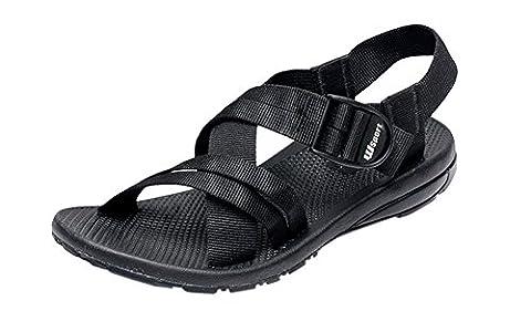 Agowoo Womens Buckle Ankle Strap Flat Walking Beach Sandals Black 42 10 D(M)