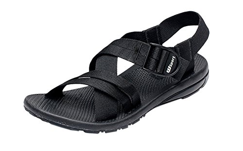 Walking Strap Black Beach Ankle AGOWOO Womens Sandals Flat Buckle qFttnX