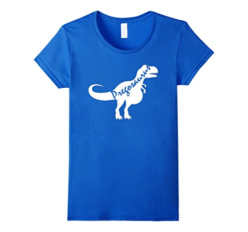 Womens Pregosaurus Funny Pregnant Mother - Halloween Costume Shirt Large Royal (Funny Halloween Costumes For Pregnant Women)