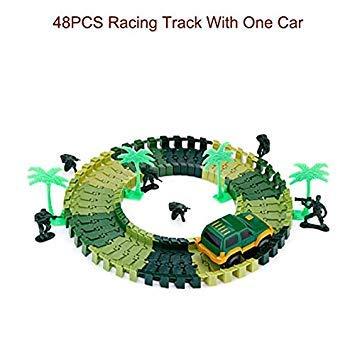 Racing Track Set 48 96PCS DIY Race Track Toys Roller Coaster Flexible Car Vehicles Playset Railway Rail Xmas Kids Gifts Toy 48PCS with one car