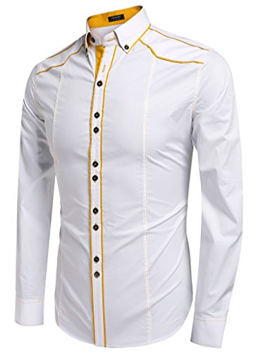 Coofandy Men's Button Down Dress Shirts Casual Slim Fit Shirts(White,S)