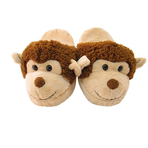 Brown Monkey (Kid's/Children's Non-Slip Plush Animal Character Slippers (Brown Monkey))