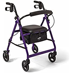 Medline Aluminum Foldable Adult Transport Rollator Mobility Walker with Seat and 6 Inch Wheels, Purple