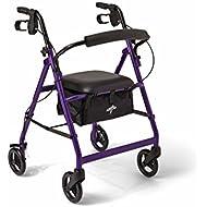 Medline Aluminum Rollator Walker with Seat, Folding Mobility Rolling Walker has 6 inch Wheels, Purple