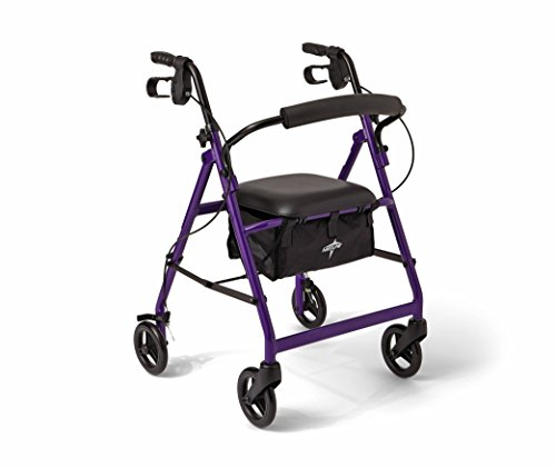 (Medline Aluminum Rollator Walker with Seat, Folding Mobility Rolling Walker has 6 inch Wheels, Purple)