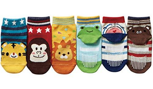 Baby Boy Socks 6 Pack Cute Cartoon Cotton with Grips Toddler Anti Slip Ankle Walker Crew Socks 3-30 Months
