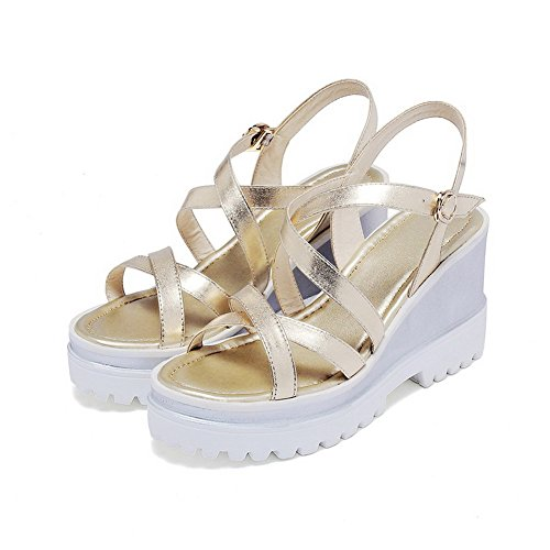AmoonyFashion Womens Soft Material Open Toe High-Heels Buckle Solid Sandals Gold Nh4IEO2yAm