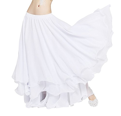 Dance Fairy Party Chiffon Belly Dance Tiered Maxi Long Skirt,White