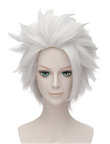 HH Building Anime Short Layered Cosplay Wig Halloween Party Silvery White Hair ()