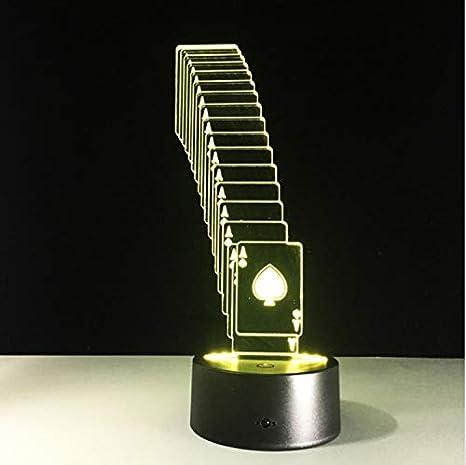 Plegable Poker 3D Led Lámpara 7 Cambio De Color Mesa De Escritorio ...
