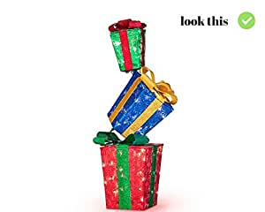 Outdoor Christmas Yard Decoration Lighted Decor | LIGHTED STACKED GIFT BOXES