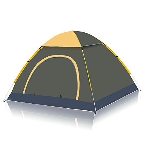 刺繍過ち拘束するUnila キャンプワンタッチテント 3-4人用 自動アウトドアテント キャンプドーム(幅200cm×奥行187cm×高さ130cm)紫外線防止 登山 折りたたみ 防水 通気性