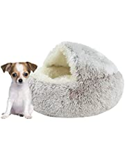 XHUMORG Dog Bed - Round Snuggery Hooded Dog Bed,Self-Warming Quilted Orthopedic Cat Bed,Pet Bed Sofa for Puppy Dogs/Cats