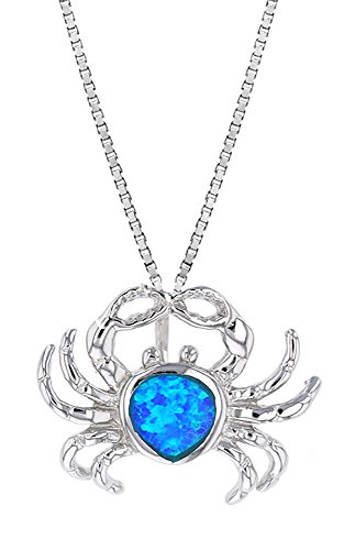 (Sterling Silver Synthetic Opal Infinity Crab Necklace Pendant With 18
