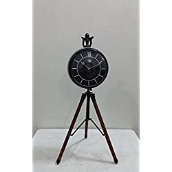 NAUTICAL MARITIME ~ MATTE BLACK POWDER COATED CLOCK DESKTOP ~ SMALL TABLE CLOCK ~ WORKING CLOCK