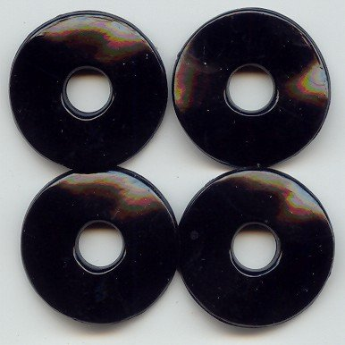 (Jet Black Acrylic 3x30mm. Wavy DISC Beads - Lot of 12)