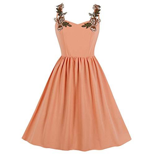 Leomodo Floral Embroidery Women Girls Dress Backless Zipper Big Hem ()