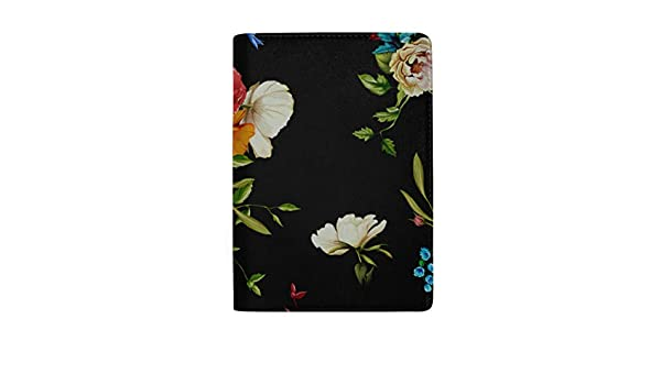 Leotruny Passport Holder Cover Red And Black Intersecting Flowers Stylish Pu Leather Travel Accessories Custom Passport Cover For Women Men