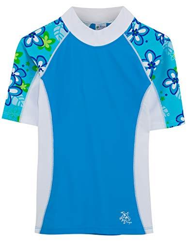 Tuga Girls Seaside S/S Rash Guard (UPF 50+), Aquamarine, 6/7 yrs