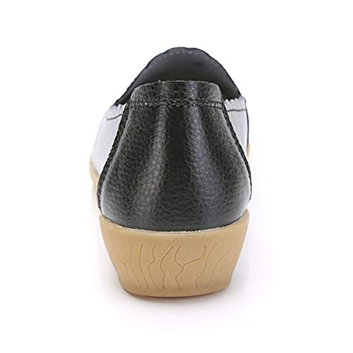 Verano blanco Negro De Zapatos Para Mujer Primavera Mocasines Cómodos Cuero Planos Cuña beige Zapatillas Negros wTqnCz