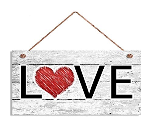 TOPFINES Love Sign, Red Heart, Distressed Wood Sign, Rustic Wall Art, 5