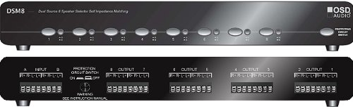 OSD Audio DSM6 Dual Source 6-Zone Independent A/B Switch Per Zone High Performance Speaker Selector with Impedance Protection - Black Brushed Aluminum ()