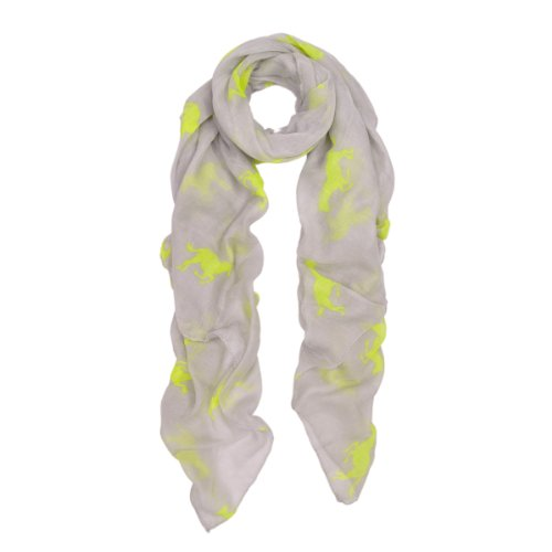 Premium Stallion Horses Animal Print Scarf, Neon Yellow