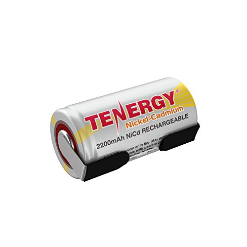 Tenergy 2200mAh Sub C NiCd Battery for Power Tools, 1.2V Flat Top Rechargeable Sub-C Cell Batteries with Tabs, 1 Pack