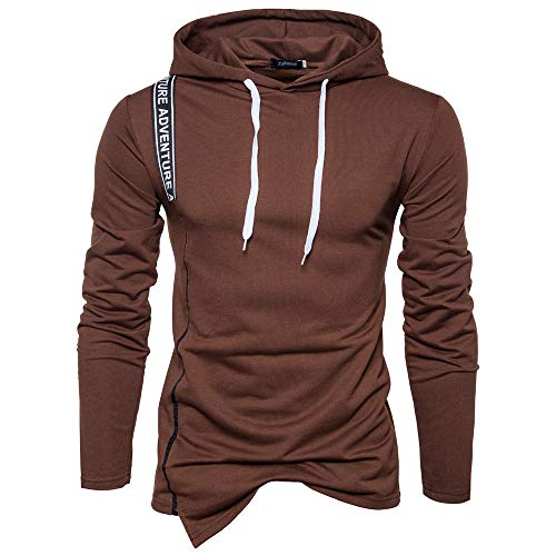 Realdo Clearance Mens Hoodie Sweatshirt,Mens Solid Color Letter Print Stripe Split Hem Pullover Top(XX-Large,Coffee) ()